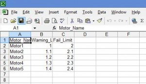 CSV setup file loaded into MS Excel software for editing